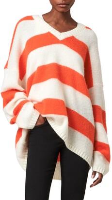AllSaints Lou Stripe V-Neck Sweater