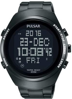 Pulsar Unisex Digital Quartz Watch with Stainless Steel Plated Bracelet - PQ2057X1