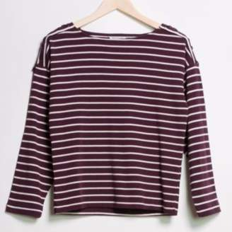 Great Plains Lace Up Stripe Slash Neck Top - XS - Purple/White