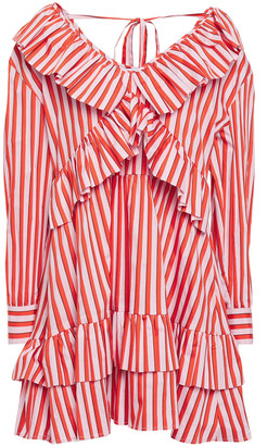 MSGM Ruffle-trimmed Striped Cotton-blend Poplin Mini Dress