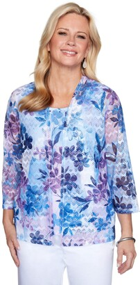 Alfred Dunner Women's Floral Patch Print Two for ONE TOP Blouse
