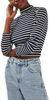 Topshop Women's Stripe Funnel Neck Top