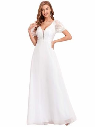 Ever Pretty Ever-Pretty Women's V Neck Elegant Empire Waist Floor Length A Line Chiffon Short Sleeves Wedding Guest Dresses White 16UK