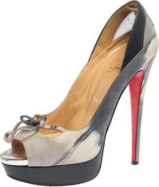 Christian Louboutin Grey/Blue Leather, Suede And Mesh Bow Peep Toe Pumps Size 40