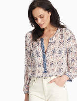 Lucky Brand Half Placket Peasant Top