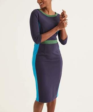 Boden Women's Casual Dresses Navy/Blue - Navy & Blue Lagoon Color Block Leah Ottoman Sheath Dress - Women's Tall & Petite