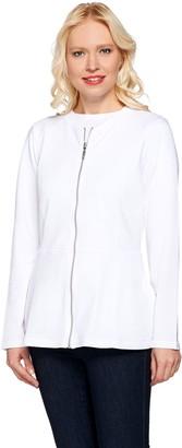 Denim & Co. Active Peplum Zip Front Long Sleeve Jacket