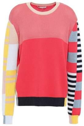 Autumn Cashmere Cotton By Color-block Cotton Sweater