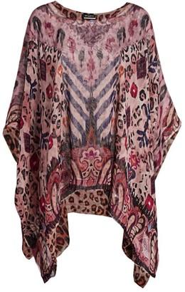 Etro Solisia Reversible Leopard-Print Silk Poncho