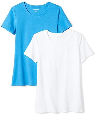 Amazon Essentials 2-pack Short-sleeve Crewneck Solid T-shirt Bright Blue/), (size:):)