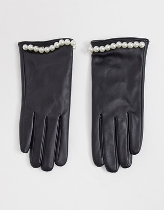 SVNX leather look gloves with pearl studs in black