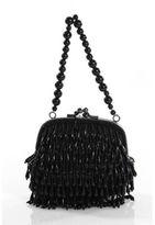 BCBGMAXAZRIA Black Beaded Kiss Lock Mini Coin Pouch Handbag