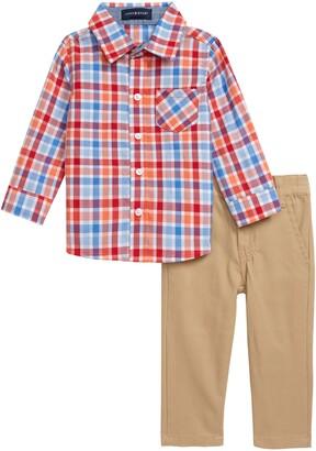 Andy & Evan Andy & Even Button-Up Plaid Shirt & Khaki Pants