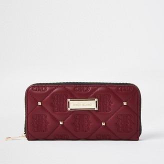 River Island Womens Red Quilted stud Zip Around Purse