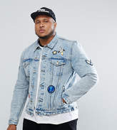 Asos Plus Denim Jacket With Badges In Mid Wash