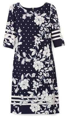 Eliza J Floral and Dot Print Shift Dress
