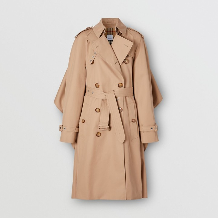 Burberry Contrast Cape Detail Cotton Twill Trench Coat