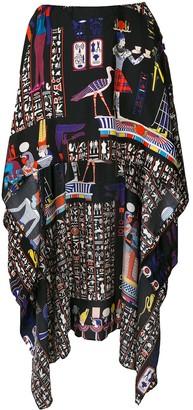 Jean Paul Gaultier Pre Owned hieroglyph printed mullet skirt