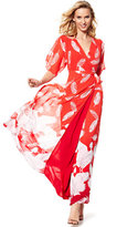 New York & Co. Maxi Wrap Dress - Red - Feather Print