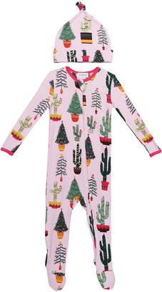 Bedhead Pajamas Girl's Christmas Cactus-Print Footie Pajamas w/ Matching Hat, Size 3-24 Months