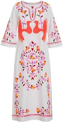 Ada Kamara Bird Embroidery Dress In White Orange