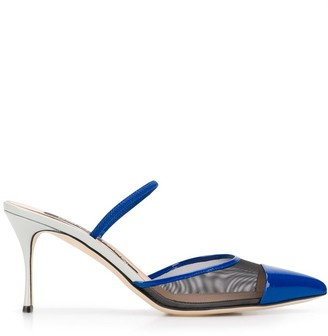 Sergio Rossi 85mm Pointed Mesh Panelled Pumps