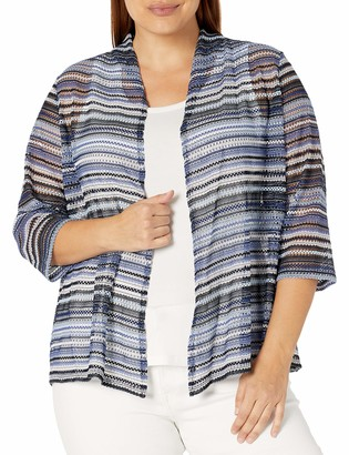 Kasper Women's Crochet Stripe Knit 3/4 Sleeve Cardigan