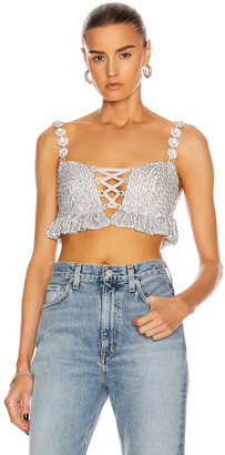 Raisa Vanessa RAISA&VANESSA Sequin Bustier Top with Crystal Straps in Silver | FWRD