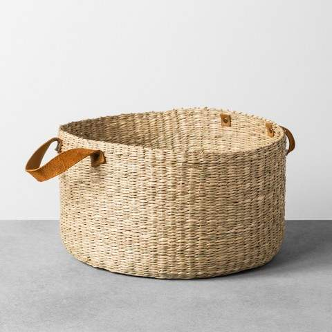 Hearth & Hand with Magnolia Seagrass Basket with Leather Handle - Large - Hearth & HandTM with Magnolia