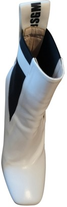 MSGM White Leather Boots
