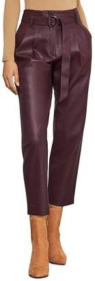 BCBGMAXAZRIA Pleated Faux Leather Pants