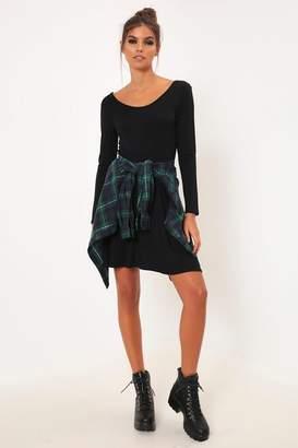 I SAW IT FIRST Black Long Sleeve Scoop Back Skater Dress