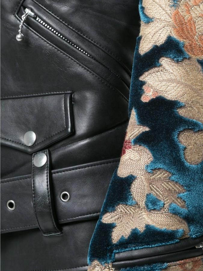 Junya Watanabe Faux Leather Jacket With Jacquard Sleeves