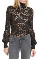 L'Agence Women's Lace Turtleneck Top