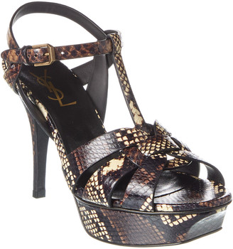 Saint Laurent Tribute 75 Snake-Embossed Leather Sandal