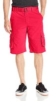 Southpole Men's Belted Mini Canvas Cargo Shorts