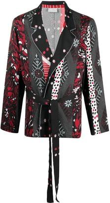 Pierre Louis Mascia Peonia patchwork wrap blazer