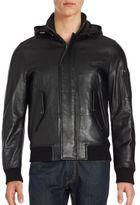 Michael Kors Military Leather Hooded Jacket