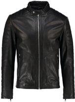 Reiss Reiss Native Leather Jacket Black