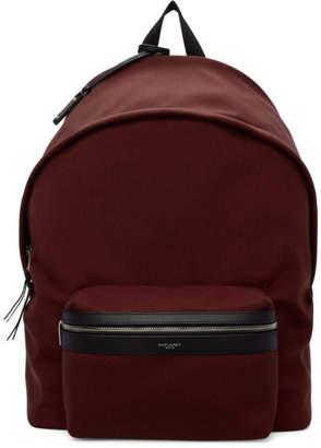 Saint Laurent Red Canvas City Backpack
