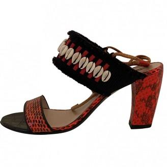Dries Van Noten Red Leather Sandals