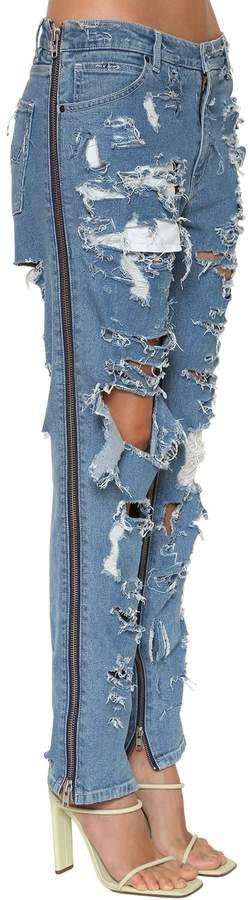 Asos Destroyed Side Zip Denim Jeans