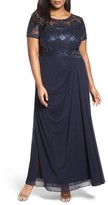Alex Evenings Plus Size Women's Sequin Lace & Chiffon Ruched Long Dress