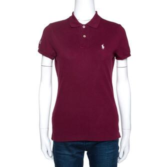 Ralph Lauren Burgundy Cotton Pique Harvard Skinny Polo T-Shirt S