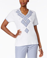 Alfred Dunner Garden Party Collection Studded Top