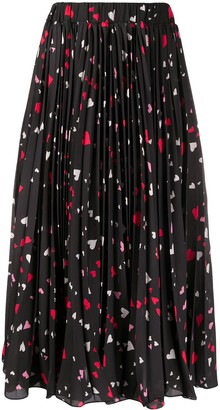 La DoubleJ Heart Print Pleated Skirt