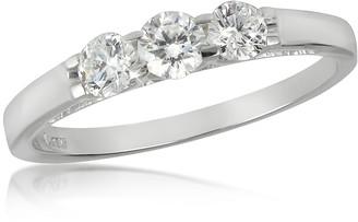 Forzieri 0.49 ctw 18K White Gold Diamond Trilogy Ring