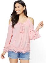 New York & Co. Lace Cold-Shoulder Blouse