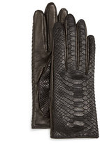 Guanti Python/Napa Leather Gloves, Black/Navy