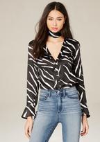 Bebe Print Silk Tie Neck Blouse